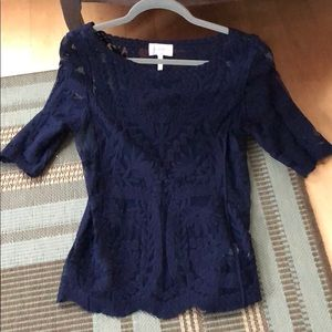laundry by Shelli Segal Lace top navy blue